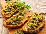 Рецепта Зелена маслинова тапенада с аншоа и каперси за брускети или предястие